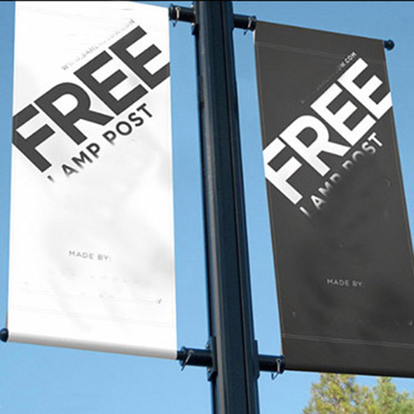 double sided light pole banners with 18OZ acrylic fabric